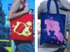 Тряпичная сумка.  Цветные колготки.  Don't lоok bag.