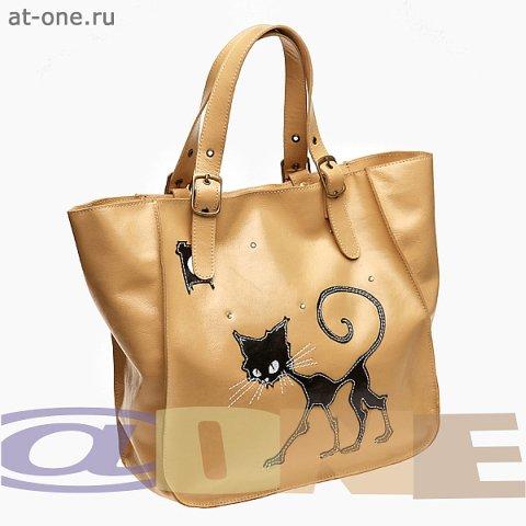 Сумка женская бежевая кожаная с аппликацией. сумки @ONE К-123.1 в...