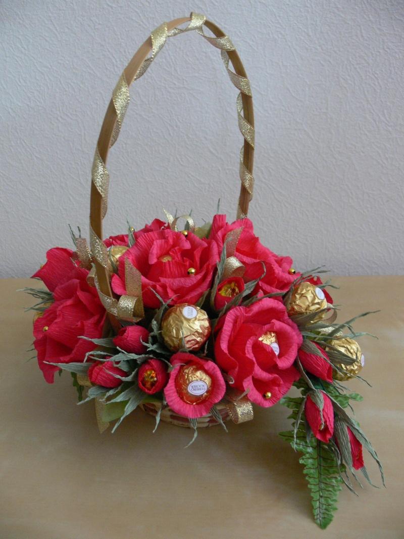 корзины с цветами из конфет картинки ваза лучший