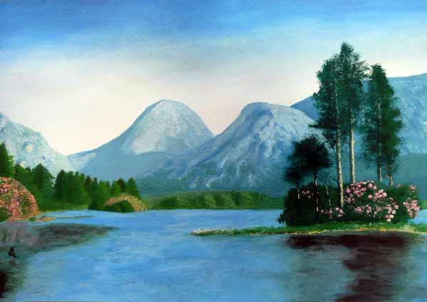 японская живопись пейзаж.