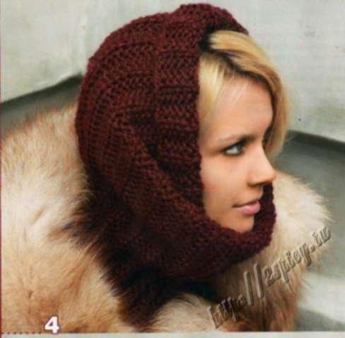 Большая свисающая шапка-мешок и шарф-труба (снуд) Шарф-труба (снуд) и...