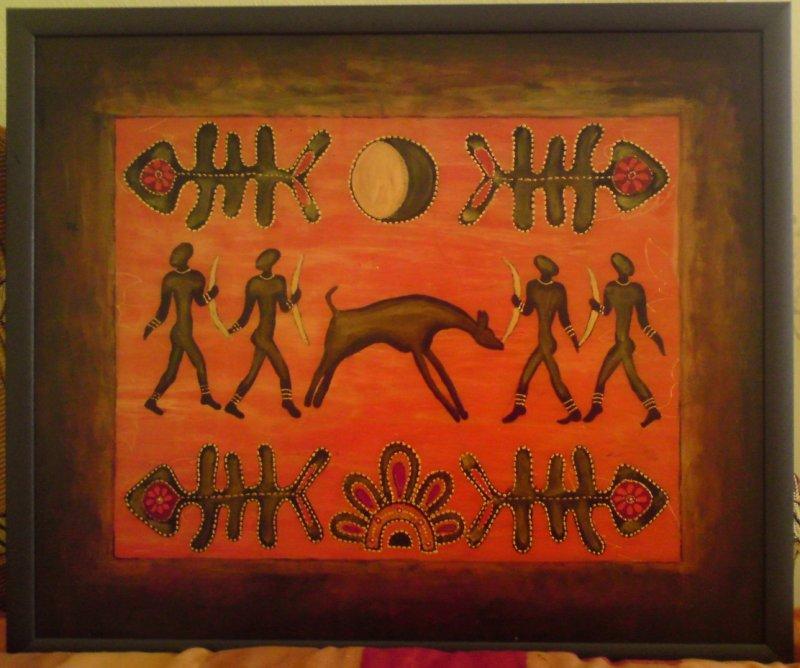 Я выполнила картину в этническом стиле и иммитировал...