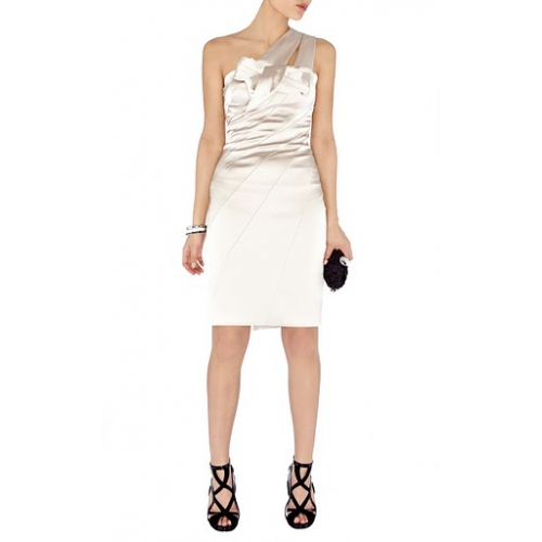 Karen Millen Feminine Textured Tailor Dress Black and White...