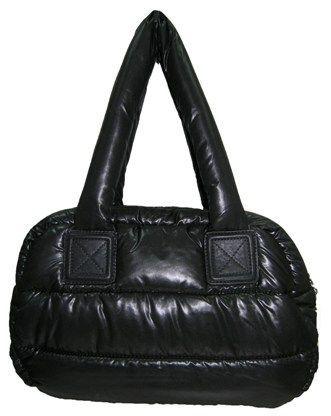 Дутая сумка из болоньи, цвет черный.