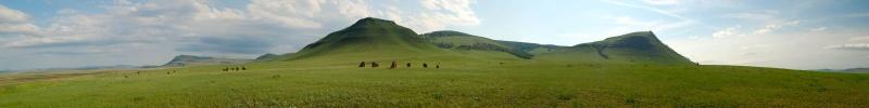По дороге Абакан-Новоселово только в одном месте есть камни и курганы