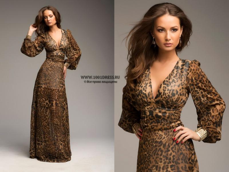 Шифоновые леопардовые платья
