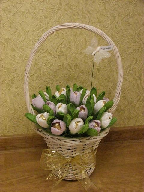 Корзины цветов из конфет своими руками фото