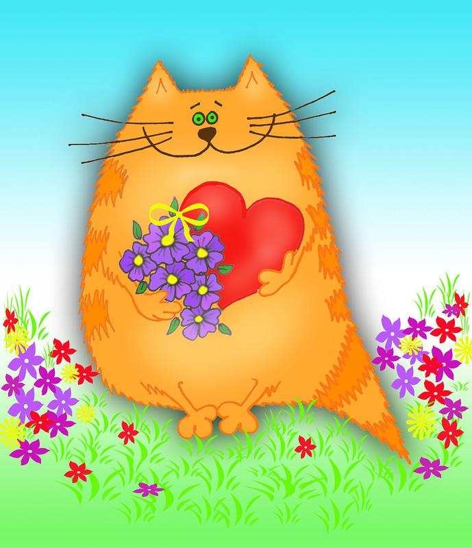 Котик картинка с поздравлением, смешные картинки открытки