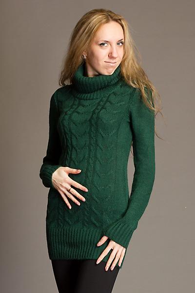 Зеленый Вязаный Пуловер Доставка