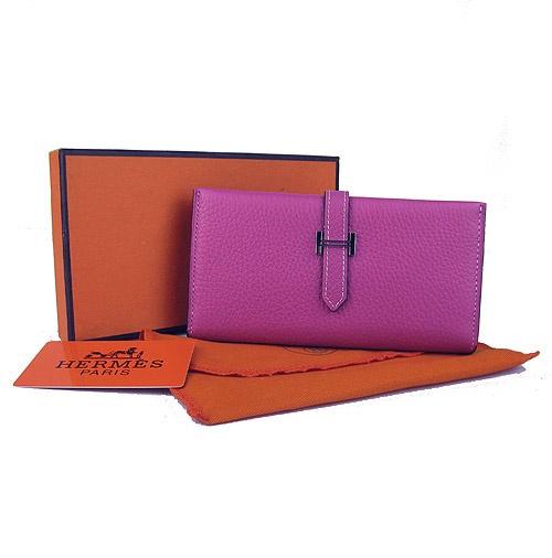 женский кошелек Хермес из натуральной кожи, компактного размера, в три.
