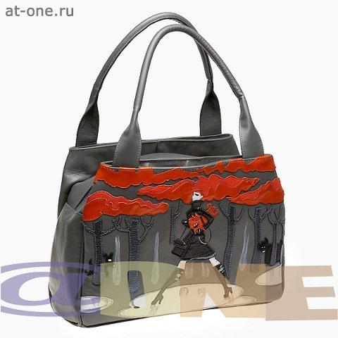 Сумка женская кожаная серая с аппликацией. сумки @ONE К-0158 в каталоге...