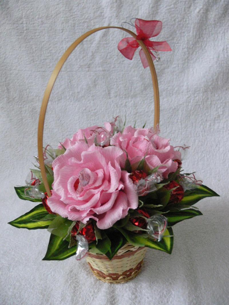Букет из роз в корзинке своими руками