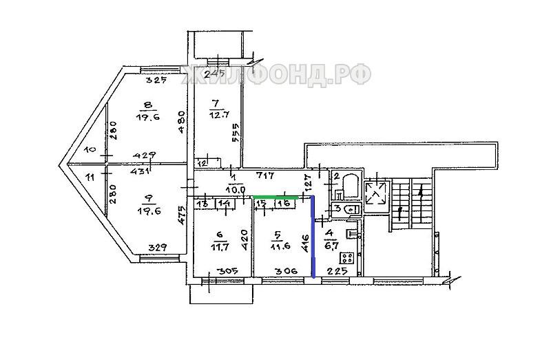 типовой 9 этажный дом 80х